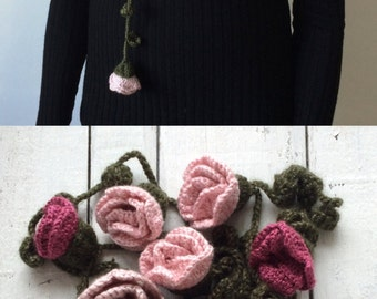 Flower Scarf, Roses Scarf, Crochet Necklace, Pink Roses Lariat, Beadwork, Crochet Accessories for Women, ReddApple, Fast Delivery