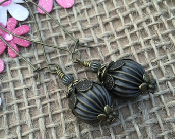 Steampunk Brass Earrings, Melon Earrings, Gift for Women, Birthday Gift Ideas, Brass Drop Earrings, Dangle Earrings, Easter Gift Idea