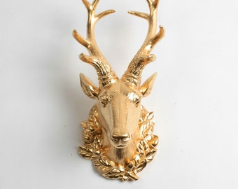 SALE - The Millie in Gold - Large Gold Resin Deer Head w/Filigree- Gold Deer Antlers Mounted - Faux Deer Head - Faux Taxidermy