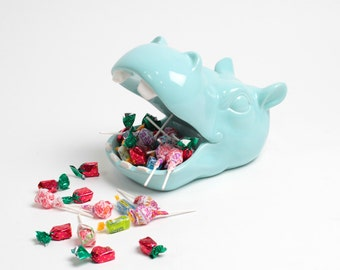 Hippo Candy Dish - Ceramic Hippo Head Catchall Tray - Blue Hippopotamus Head - Table Top Kitchen Decoration - Faux Taxidermy Animal Head