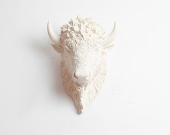 Small Bison Head Wall Mount, The SMALL Aspen- Small Antique White Resin Bison Head- Buffalo Resin by White Faux Taxidermy
