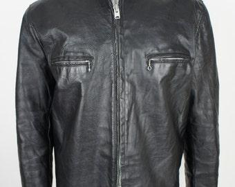 Vintage Leather Cafe Racer Motorcycle Jacket size Large