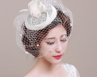 Vintage Style Bridal Veil, Birdcage Veil, Ivory, Style #271
