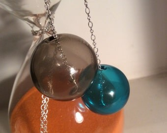 Murano blown glass blue and smoky-grey bubbles sterling silver necklace AFRODITE#7