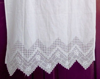 Handmade crochet curtain with atrante, azure and lace - Greek Traditional Handiwork -   0000875