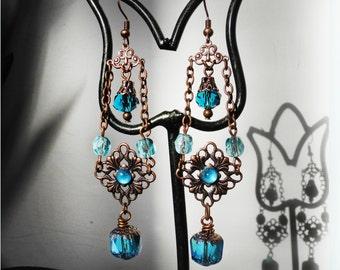 Aqua Blue Earrings Flower Earrings Victorian Bridal Earrings Blue Vintage Wedding Antique Copper Filigree Jewelry