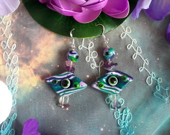 Otherworldly multicolored eye crystal earrings