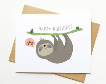 Sloth Happy Birthday Cute Illustration Card