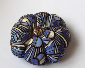 Pincushion MAUVE Blue Fabric . Great for a sewing gift - Round Pin cushion Double Sided geometric fabric with gold accents. Pins Holder