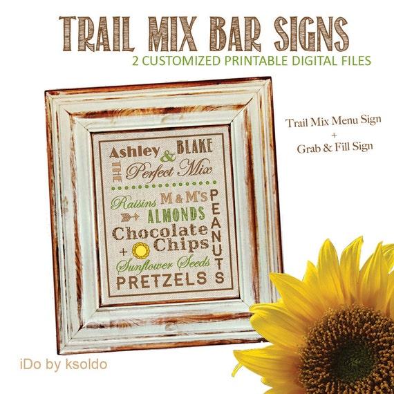 Wedding Trail Mix Bar - 2 Printable Signs -  8 x 10 Menu + 5 x 7 Grab & Fill Sign - Rustic/Vintage Themed - Customized Printable
