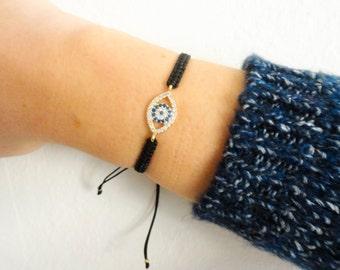 Evil eye macrame bracelet, black evil eye bracelet, all seeing eye jewelry, macrame jewelry, turkish eye bracelet, arabic style jewelry,