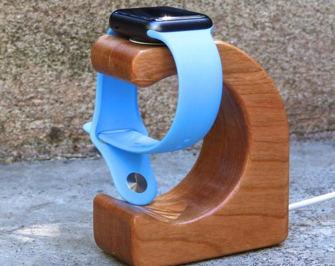 Apple Watch Charging Stand  - The WAVE in Cherry - Unique magnetic closure hides the cable!