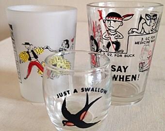Lot of 3 Vintage Mid Century Shot Glasses Retro Barware