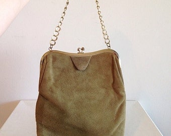 Vintage Faux Suede Olive Green Purse