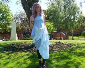 Upcycled Blue and white maxi dress