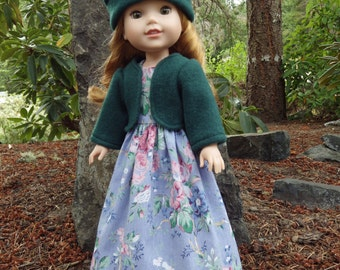 Blue Flowered Sundress with Jacket and Hat for 14 inch dolls like Wellie Wishers