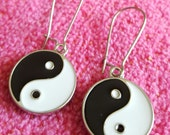 EARRINGS: Ying and Yang Pendant Black and White Dangle Silver Pierced Earrings