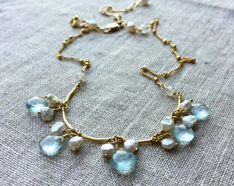 Blue Aquamarine and Pearl Necklace, Aquamarine Briolettes and Freshwater Pearl Choker Jewelry with Gold Chain, Item Number NS991