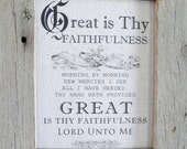 """Great is Thy Faithfulness 8 x 10"""" Original Print on Natural Cotton Fabric - PRINT ONLY"""
