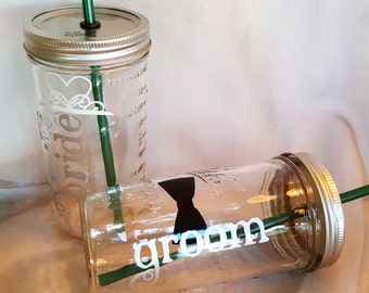 WEDDING Bride and Groom Mason Jar Glasses Mason Jars Toasting Glasses Tiara and bowtie (You Choose) BPA Free Reusable Straws 24 oz (two)