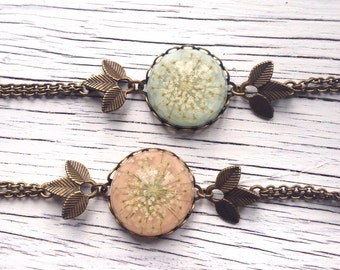 Shabby chic jewelry, Unique jewelry flower bracelet, bronze bracelet, real flower jewelry, resin jewelry, pressed flower jewelry, cute gifts