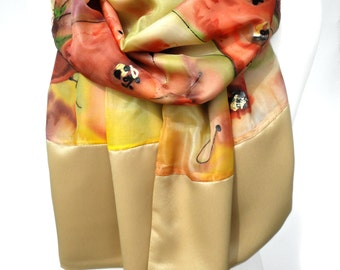 Hand Painted Silk Scarf. Gold Luxury Heavy Shawl. Birthday Gift for Her. Wedding Bridal Poppy Scarf. Unique Handmade. 16x68in Ready2Ship