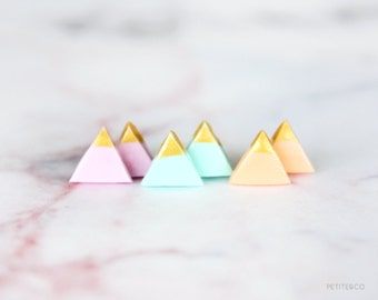 gold dipped triangle studs - pastel / minimalist geometric earrings - gift for her under 15