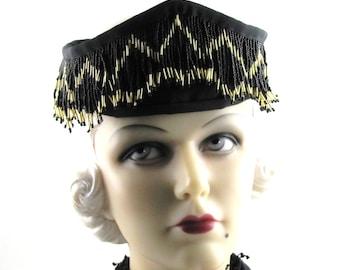Womens Hat Headpiece Fascinator Headband Black Satin Flapper Gold Beads Handmade Ascot Races Derby Art Deco Custom Made for Each Client