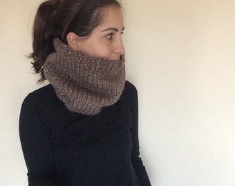Knitted Wool-Acrylic Ribbed Cowl / Snood in Silver Sparkle Taupe - Chunky, Warm and Luxuriously Soft