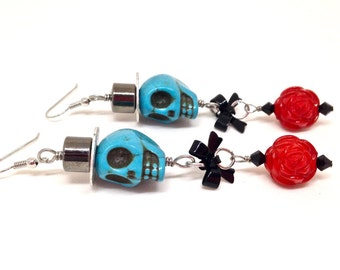 Sugar skull and rose earrings, ,lolita earrings, goth jewelry, sugar skull jewelry, Day of the Dead, rose earrings, sugar skull jewelry