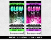 GLOW PARTY INVITATIONS - Ticket Style Neon Birthday Party - Any Age (print your own) Printable Files - Glow in the Dark Dance
