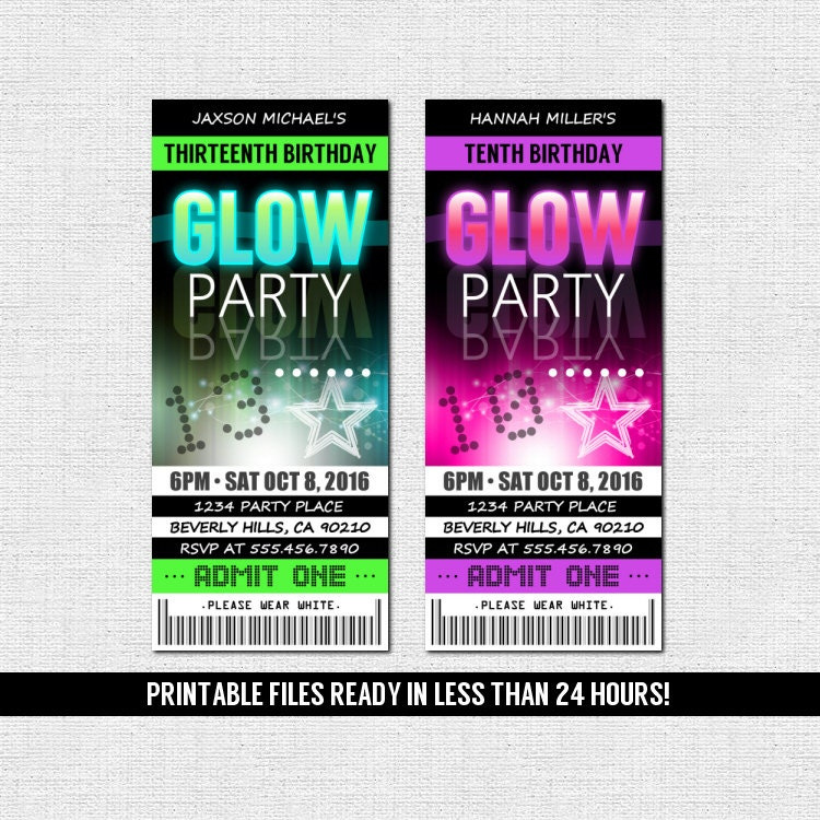 GLOW PARTY INVITATIONS Ticket Style Neon Birthday by nowanorris