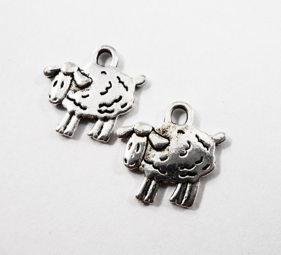 Silver Sheep Charms 15x15mm Antique Silver Sheep Pendants, Lamb Charms, Farm Animal Charms Metal Charms Craft Supplies Jewelry Supplies 10pc