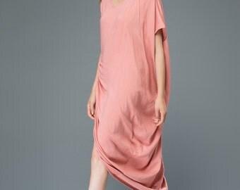 Pink linen dress irregular women's dress C919