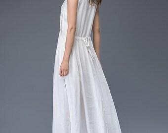 White linen Dress - Simple Elegant Everyday Wardrobe Staple Linen Dress Semi-Fitted with Pockets & Drawstring Waist C947