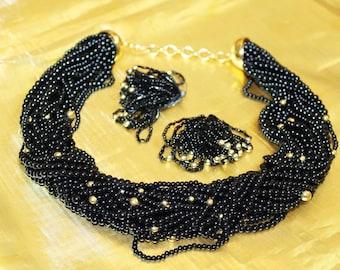 Vintage Chunky Black Fabulous Necklace Clip Earrings Set SU