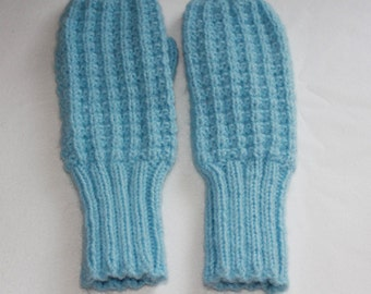 Blue Knit MIttens - Baby Blue Mittens - Handmade Knit Mittens - Winter Mittens - Women or Teens Small