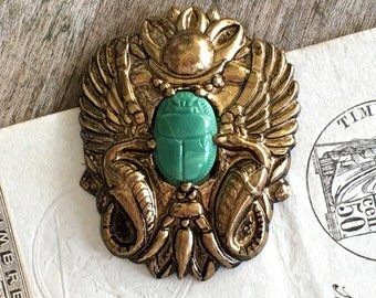 Scarab and Cobra Pin / Glass and Brass / 1940's