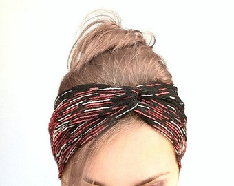 Black red twist headband Jersey turban twisted headband knoted turband stretch head wrap knot headband lace headband