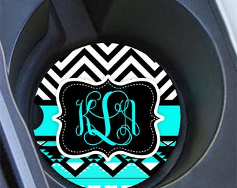Monogram car cup holder coaster, Aztec chevron turquoise black, Tribal car decor, Vanity initials car coaster, Cute interior car decor(1292)