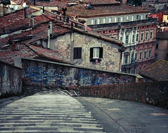 Italy Photography, Travel Photography, Perugia Italy, City Photography, Italy Art, Fine Art Photography, Italy Street Photo, Brown, Red