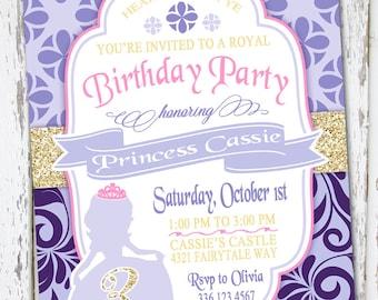 Sofia The First Inspired Birthday Invite, sofia the first invite, sofia birthday, purple princess invite, sofia the first