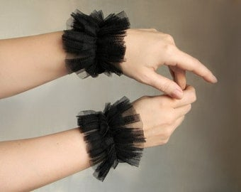 Black Wrist Cuffs, Tulle Ruffle Cuffs, Fabric Cuffs, Textile jewelry, Ruff cuffs Women accessories, Gothic Lolita, Armbands, Gothic jewelry