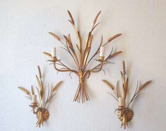 Set of three French Mid Century Wall Lights- Gold Gilt Mid Century Sconces- Beautiful Sheaves of Wheat Design- French Elegance for any room