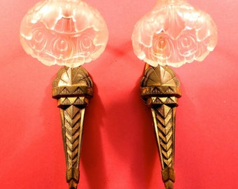 Pair French Art Deco Wall Lights- Bronze Gold Gilt - Pair Art Deco Sconces - Beautiful Crystal Glass Shades - French Elegance for any room