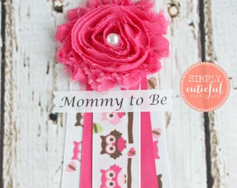 Pink Owl Baby Mommy to Be Corsage Grandma to Be Corsage Pin Badge Capia Ribbon Baby Shower Corsage