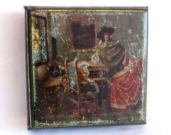 Refill? Vintage tin box. Vermeer, Jan. Het glas wijn. Western Germany. The Glass of Wine. Collectible decor, Courting couple, Dutch painting