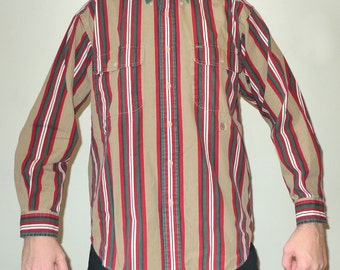 Vintage 1990s Long Sleeve TOMMY HILFIGER Striped Khaki, Green + Burgundy Button Up Shirt M