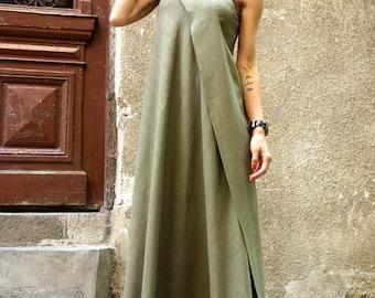 NEW  Maxi Dress / Olive Green Kaftan Linen Dress / One Shoulder Dress / Extravagant Long  Dress / Party Dress  by AAKASHA A03144