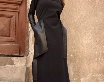 New 2016 Maxi Dress / Black Kaftan Cotton  Dress / Leather Side Pockets  Dress / Extravagant Long  Part Dress / Daywear Dress A03374